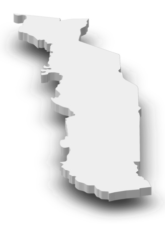 republique: Map of Togo as a gray piece with shadow.
