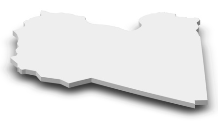frontiers: Map of Libya as a gray piece with shadow. Stock Photo