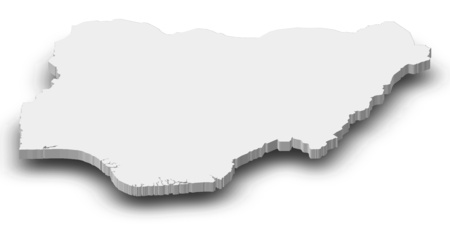 Map of Nigeria as a gray piece with shadow.