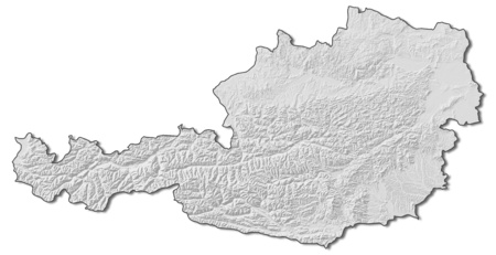 shady: Relief map of Austria with shaded relief.