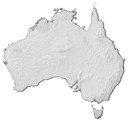 shaded: Relief map of Australia with shaded relief.
