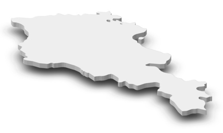 Map of Armenia as a gray piece with shadow.