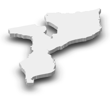 frontiers: Map of Mozambique as a gray piece with shadow. Stock Photo