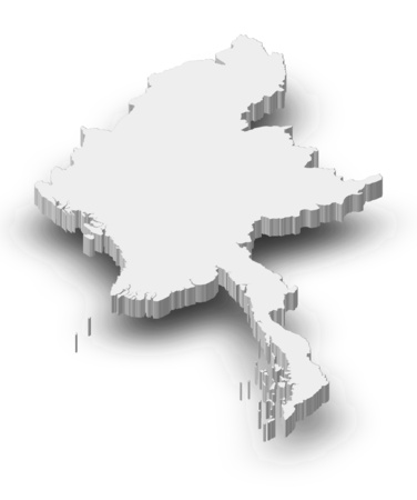 Map of Myanmar as a gray piece with shadow.