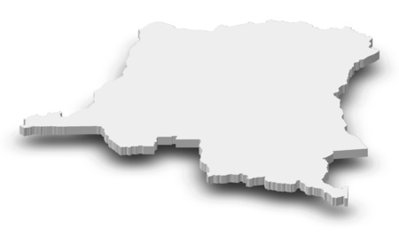 Map of Democratic Republic of the Congo as a gray piece with shadow.