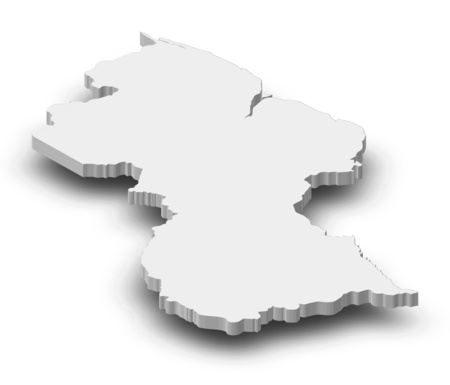 Map of Guyana as a gray piece with shadow.