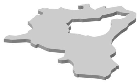 Map of St. Gallen, a province of Swizerland. Illustration