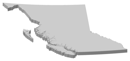 british columbia: Map of British Columbia, a province of Canada.