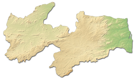 Relief map of Para?ba, a province of Brazil, with shaded relief.