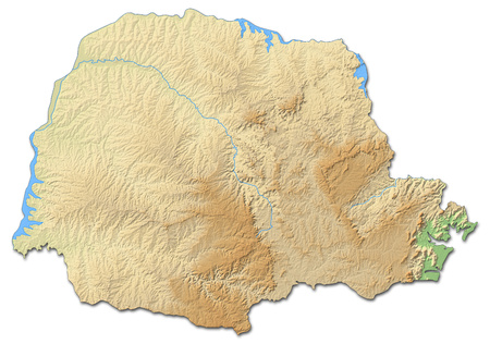 Relief map of Paran?, a province of Brazil, with shaded relief. Stock Photo