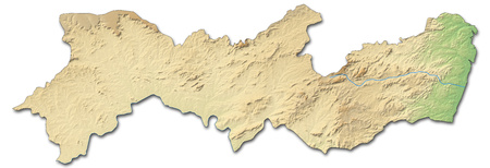 Relief map of Pernambuco, a province of Brazil, with shaded relief.