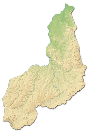 Relief map of Piau?, a province of Brazil, with shaded relief.