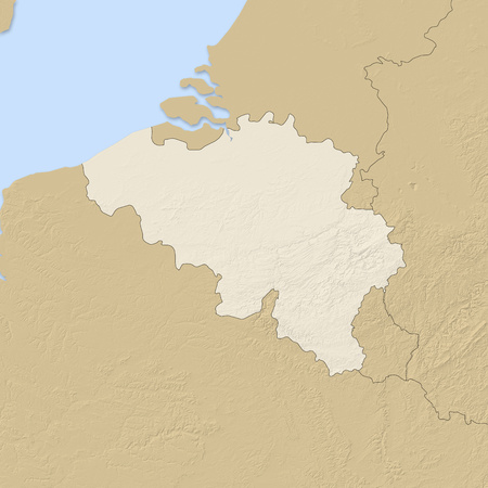 shady: Relief map of Belgium and nearby countries. Stock Photo