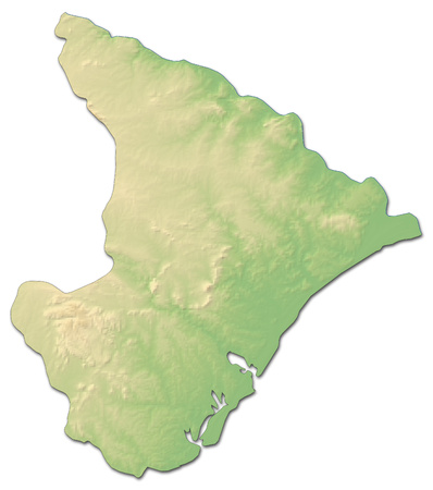 Relief map of Sergipe, a province of Brazil, with shaded relief. Stock Photo