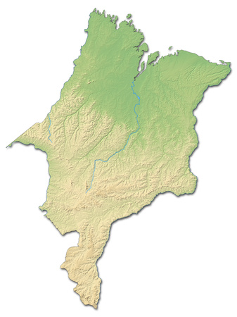 Relief map of Maranh?o, a province of Brazil, with shaded relief.