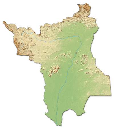 Relief map of Roramia, a province of Brazil, with shaded relief. Stock Photo