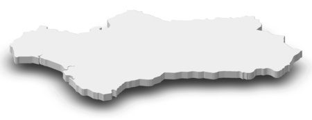 Map of Andalusia, a province of Spain, as a gray piece with shadow. Stock Photo