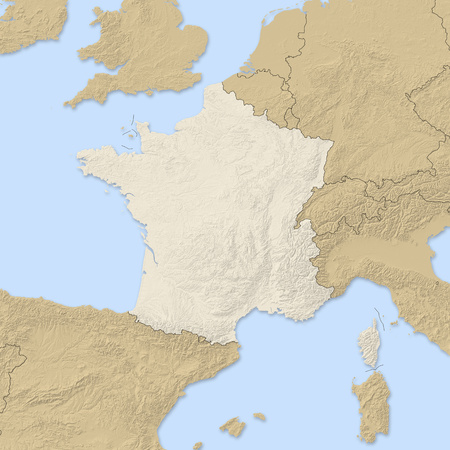 Relief map of France and nearby countries. Stock Photo