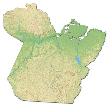 para: Relief map of Par?, a province of Brazil, with shaded relief.