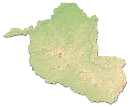 Relief map of Rond?nia, a province of Brazil, with shaded relief.