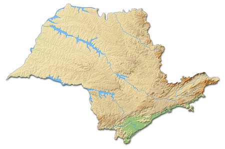 Relief map of S?o Paulo, a province of Brazil, with shaded relief.