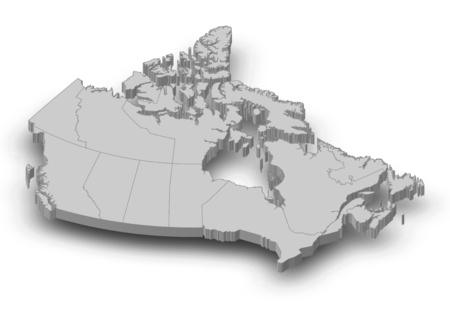 Map of Canada as a gray piece with shadow.