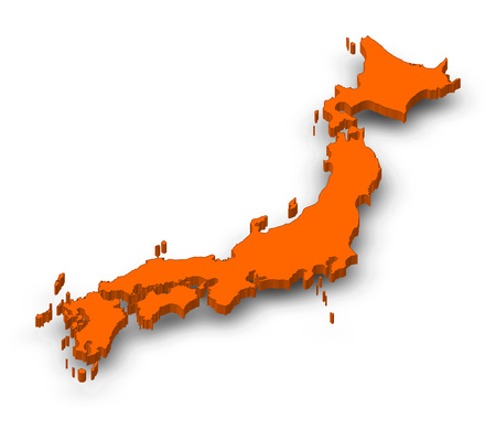 Map of Japan as a orange piece with shadow. Stock Photo