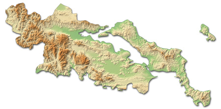 Relief map of Central Greece, a province of Greece, with shaded relief.