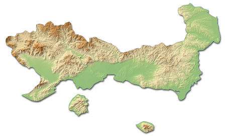 Relief map of East Macedonia and Thrace, a province of Greece, with shaded relief.