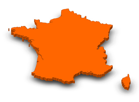 Map of France as a orange piece with shadow. Stock Photo