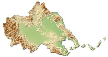 thessaly: Relief map of Thessaly, a province of Greece, with shaded relief.