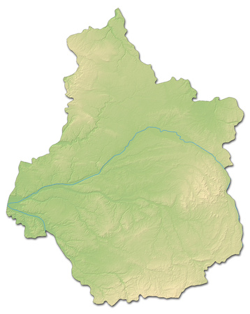 shaded: Relief map of Centre, a province of France, with shaded relief. Stock Photo