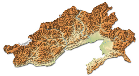 arunachal pradesh: Relief map of Arunachal Pradesh, a province of India, with shaded relief. Stock Photo