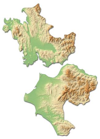 Relief map of West Greece, a province of Greece, with shaded relief. Stock Photo