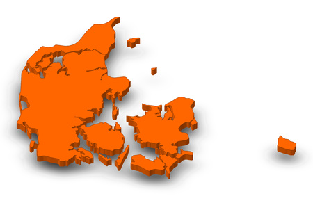 Map of Danmark as a orange piece with shadow.