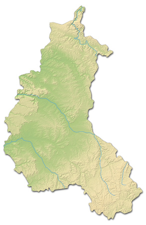 Relief map of Champagne-Ardenne, a province of France, with shaded relief. Stock Photo