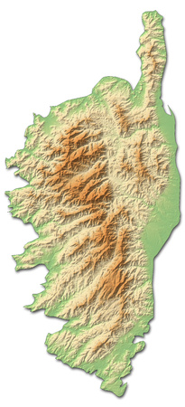 corsica: Relief map of Corsica, a province of France, with shaded relief.