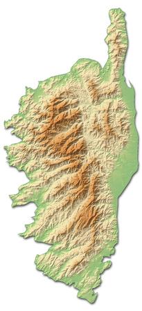 Reliefkarte von Korsika, eine Provinz von Frankreich, mit schattierten Relief.