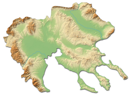 Relief map of Central Macedonia, a province of Greece, with shaded relief.