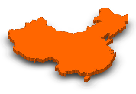 Map of China as a orange piece with shadow.