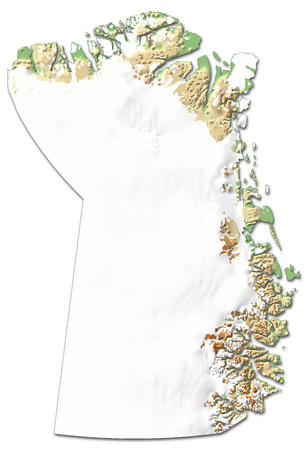 Relief map of Northeast Greenland National Park, a province of Greenland, with shaded relief. Stock Photo