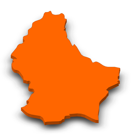 Map of Luxembourg as a orange piece with shadow. Stock Photo