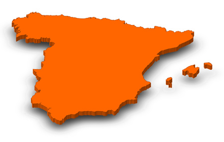 Map of Spain as a orange piece with shadow.
