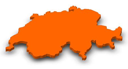 Map of Swizerland as a orange piece with shadow.