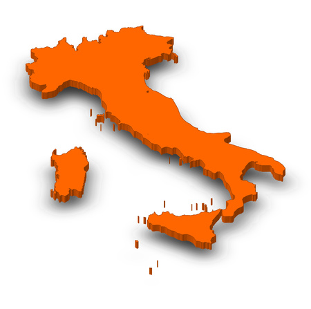 Map of Italy as a orange piece with shadow.
