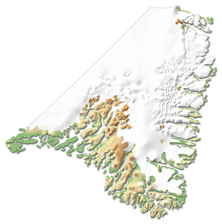 Relief map of Kujalleq, a province of Greenland, with shaded relief.