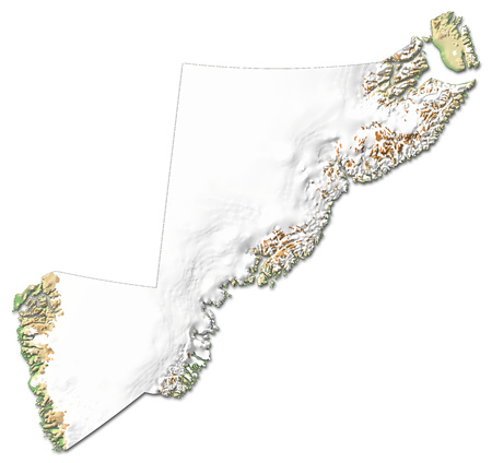Relief map of Sermersooq, a province of Greenland, with shaded relief.