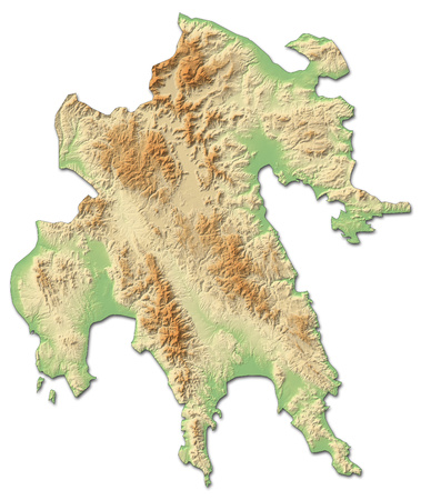 Relief map of Peloponnese, a province of Greece, with shaded relief. Stock Photo