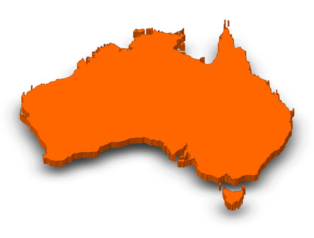 Map of Australia as a orange piece with shadow. Stock Photo