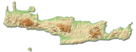 Relief map of Crete, a province of Greece, with shaded relief.